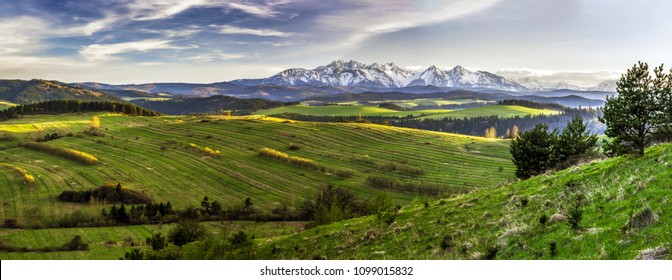 Wide-angle panorama of Slovakia Tatra Mountains with meadow, Belianske Tatry. Landscape photo of spring nature in Slovakia, mountains covered with fresh snow, green grass, blue sky with white clouds.