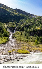 Wideangle shot of one of the stunning waterfalls of the Schlatenbach waterfalls, fed by the glaciers of the Venediger massive in Austria's Hohe Tauern nature reserve.