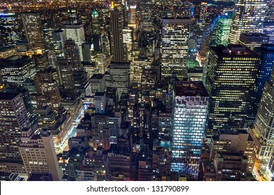 wideangle shot of skyscrapers lights in New York at night