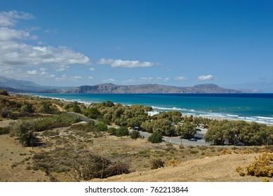 Wide-angle view of the Cretan north coast from Episkopi to Georgioupoli and the Drapano peninsula