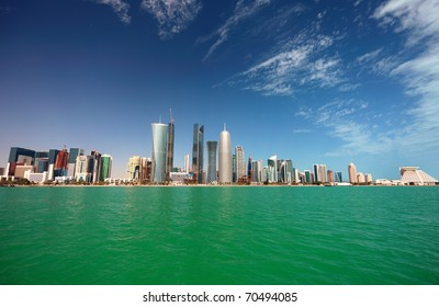 A wide-angle view of the Doha skyline in February 2011