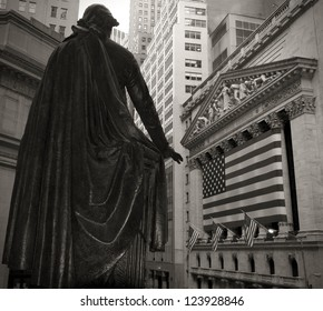 Wide-angle view of the New York Stock Exchange in sepia tone.