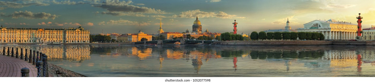 Wide-format panorama of the Spit of Vasilievsky island, Palace embankment, Palace bridge, Admiralty, Winter Palace, Hermitage and St. Isaac's Cathedral in St. Petersburg