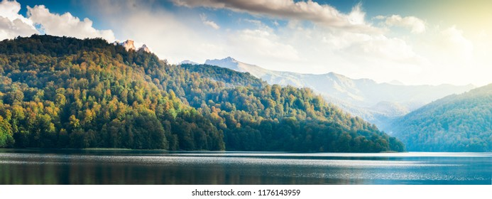 Widely panoramic view of the Goygol - lake in Azerbaijan located in the reserve