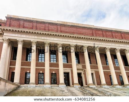 Widener Library At Harvard Yard Of University Cambridge Massachusetts USA
