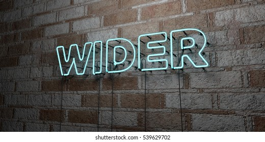 WIDER - Glowing Neon Sign on stonework wall - 3D rendered royalty free stock illustration.  Can be used for online banner ads and direct mailers.