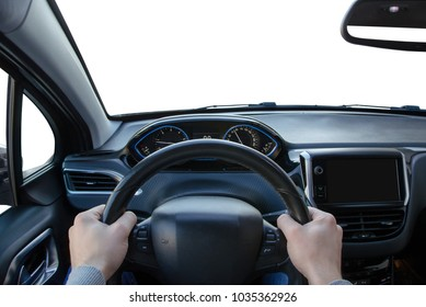 Wider view from the driver's angle on car steering wheel, interior and navigation display. Isolated white exterior.