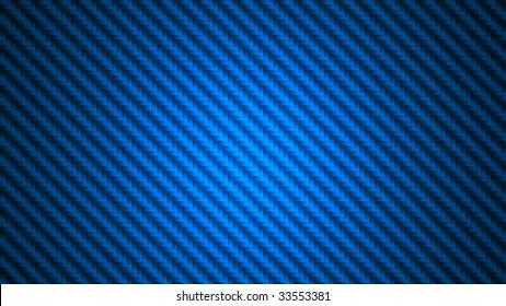 Widescreen blue carbon fiber background illustration. Digital render of fabric in 16x9 aspect ratio.