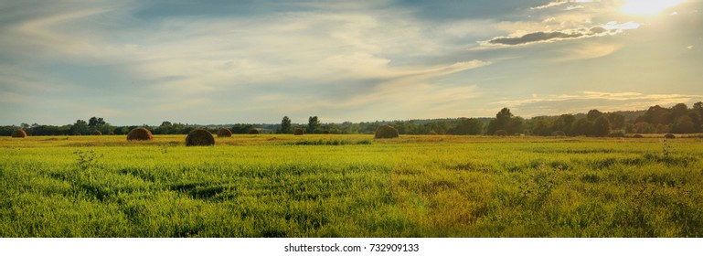 Widescreen summer panorama landscape with haystacks at sunset