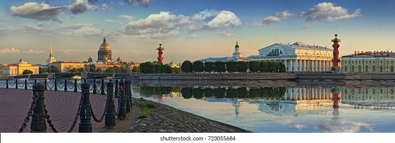 Widescreen summer panorama of the spit of Vasilyevsky island in St. Petersburg