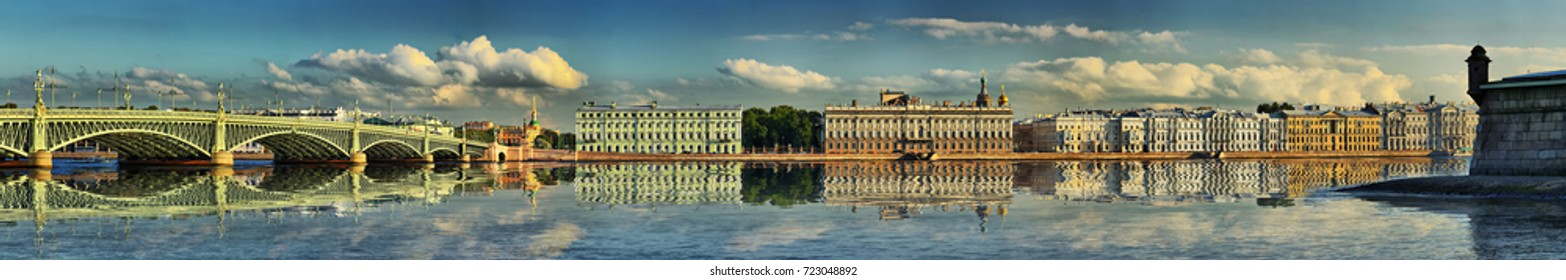 Widescreen summer panorama of Trinity bridge, Palace embankment in Saint-Petersburg