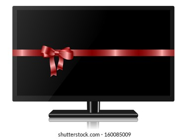 Widescreen TV wrapped with a red silk ribbon / TV for present