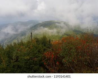 Widod from Lysa Hora peak in the Beskidy mountains in the Czech Republic