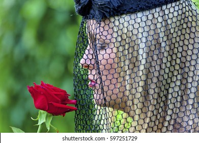 widow with veil and rose