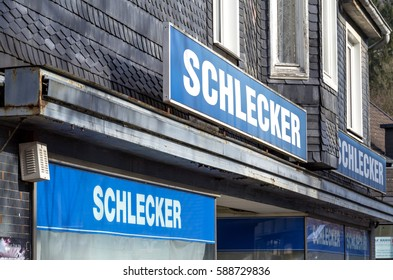 WIEHL, GERMANY - February 25, 2017: closed Schlecker branch. Schlecker was the largest German drugstore till bankruptcy in 2012.