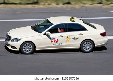 WIEHL, GERMANY - JULY 7, 2018: German Mercedes-Benz E -Class taxi on motorway