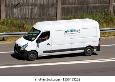 WIEHL, GERMANY - JULY 7, 2018: Transmed van on motorway. Transmed was foundet in 1970 and operates more than 3,000 vehicles, including 350 PharmaMobiles.