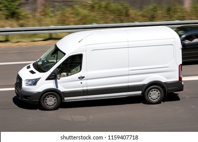 WIEHL, GERMANY - JULY 7, 2018: Ford Transit on motorway. The Ford Transit is a range of light commercial vehicles produced by Ford since 1965.