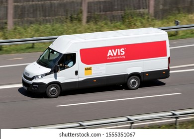 WIEHL, GERMANY - JUNE 24, 2019: Iveco Daily of Avis on motorway. Avis is an American car rental company headquartered in Parsippany, New Jersey, United States.