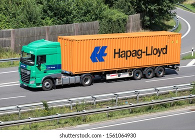 WIEHL, GERMANY - JUNE 24, 2019: Jost Group DAF XF truck with Hapag-Lloyd container on motorway.