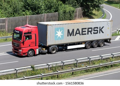 WIEHL, GERMANY - JUNE 24, 2019: MIL SPED MAN TGX truck with Maersk container on motorway.