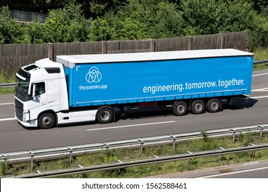 WIEHL, GERMANY - JUNE 24, 2019: ThyssenKrupp Volvo FH truck with curtainside trailer on motorway.
