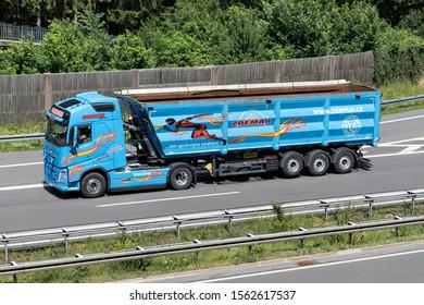 WIEHL, GERMANY - JUNE 24, 2019: Zdemar Volvo FH truck with bulk trailer on motorway.