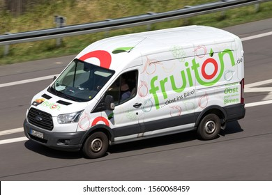 WIEHL, GERMANY - JUNE 25, 2019: fruiton Ford Transit van on motorway.