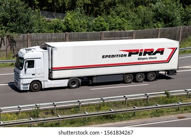 WIEHL, GERMANY - JUNE 25, 2019: Mercedes-Benz Actros truck with Pira temperature controlled trailer on motorway.