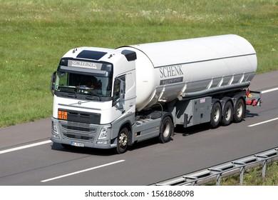 WIEHL, GERMANY - JUNE 25, 2019: Schenk Volvo FH truck with gas trailer on motorway.