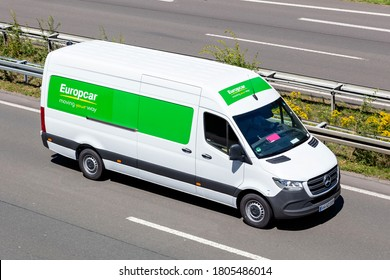 WIEHL, GERMANY - JUNE 26, 2020: Europcar Mercedes-Benz Sprinter on motorway. Europcar Mobility Group is a French car rental company founded in 1949 in Paris.