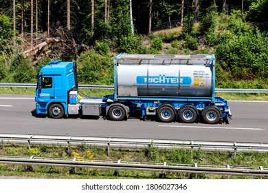 WIEHL, GERMANY - JUNE 26, 2020: Richter truck on motorway. Curt Richter, with has its headquarters in Cologne, is one of the leading specialists in Europe for transport logistics for liquid goods.