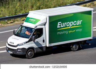 WIEHL, GERMANY - JUNE 29, 2018: Iveco Daily of Europcar on motorway. Europcar Mobility Group is a French car rental company founded in 1949 in Paris.