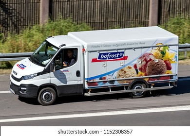 WIEHL, GERMANY - JUNE 29, 2018: Bofrost refrigerated delivery van on motorway. Bofrost is the largest direct distributor of frozen food and ice cream in Europe and currently operates in 13 countries.