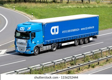 WIEHL, GERMANY - JUNE 30, 2018: CTJ truck on motorway. CTJ Janssen is based in Grevenbroich/ Germany and was established in 1985.