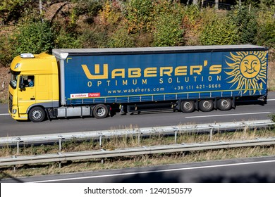 WIEHL, GERMANY - OCTOBER 13, 2018: Waberer's truck on motorway. With a fleet of over 4,300 trucks and around 7,600 employees, Waberer's serves customers across 28 countries in Europe.