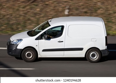 WIEHL, GERMANY - OCTOBER 13, 2018: Peugeot Partner panel van on motorway. The Peugeot Partner is produced by the PSA Peugeot Citroën alliance since 1996.