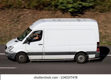 WIEHL, GERMANY - OCTOBER 13, 2018: Mercedes-Benz Sprinter on motorway. The Mercedes-Benz Sprinter is a light commercial vehicle built by Daimler AG of Stuttgart, Germany.