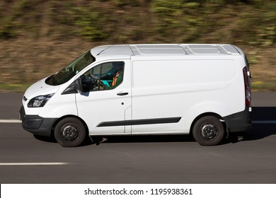 WIEHL, GERMANY - September 29, 2018: Ford Transit on motorway. The Ford Transit is a range of light commercial vehicles produced by Ford since 1965.