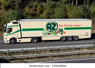 WIEHL, GERMANY - September 29, 2018: AZ Kempen truck on motorway. AZ (Absatzzentrale) Kempen is active in the fruit trading and fruit logistics sector.