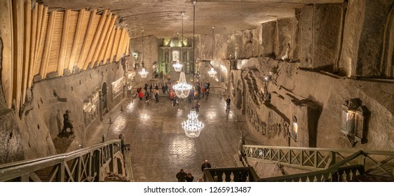 WIELICZKA, POLAND - DECEMBER 10, 2018: Very large panoramic view on the Chapel of St. Kinga at the Wieliczka Salt Mines