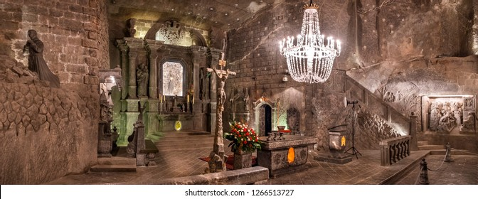 WIELICZKA, POLAND - DECEMBER 10, 2018: Large panoramic view on main altar of St.Kinga Chapel at the Wieliczka Salt Mines