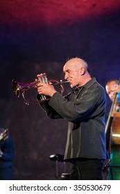 WIELICZKA, POLAND - NOVEMBER 2, 2015: Adam Kawonczyk Quartet playing live music at The Cracow Jazz All Souls Day Festival in The Wieliczka Salt Mine. Poland