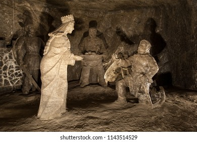 WIELICZKA, POLAND - SEPTEMBER 26: Exquisite figures carved from rock salt inside Wieliczka Salt Mine on September 26, 2007. The salt mine near Krakow is a popular tourist destination.