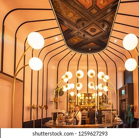 WIEN, AUSTRIA - 7 DECEMBER, 2018: Interior of Sacher Salon in Wien, Austria on 7 December, 2018.