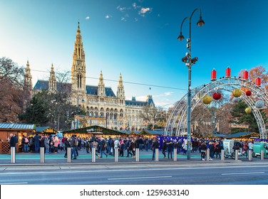 WIEN, AUSTRIA - 7 DECEMBER, 2018: Christmas market at Rathaus in Wien, Austria on 7 December, 2018.