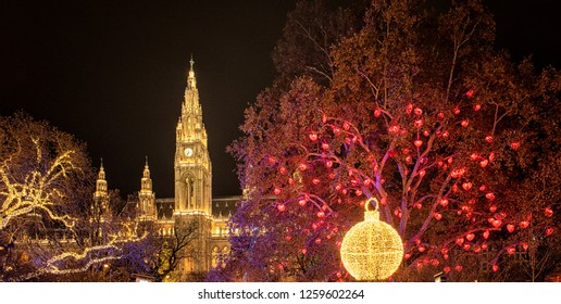 WIEN, AUSTRIA - 8 DECEMBER, 2018: Christmas market at Rathaus in Wien, Austria on 8 December, 2018.