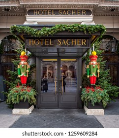 WIEN, AUSTRIA - 8 DECEMBER, 2018: Entrance of the famous Cafe Sacher with a nutcracker statue in Wien, Austria on 8 December, 2018.