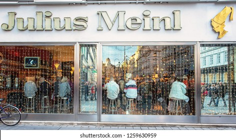 WIEN, AUSTRIA - 8 DECEMBER, 2018: Exterior of Cafe Julius Meinl in Wien, Austria.