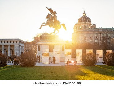 WIEN, AUSTRIA - 8 DECEMBER, 2018: Horse and rider (Archduke Charles / Erzherzog Karl) memorial in Wien, Austria on 8 December, 2018.